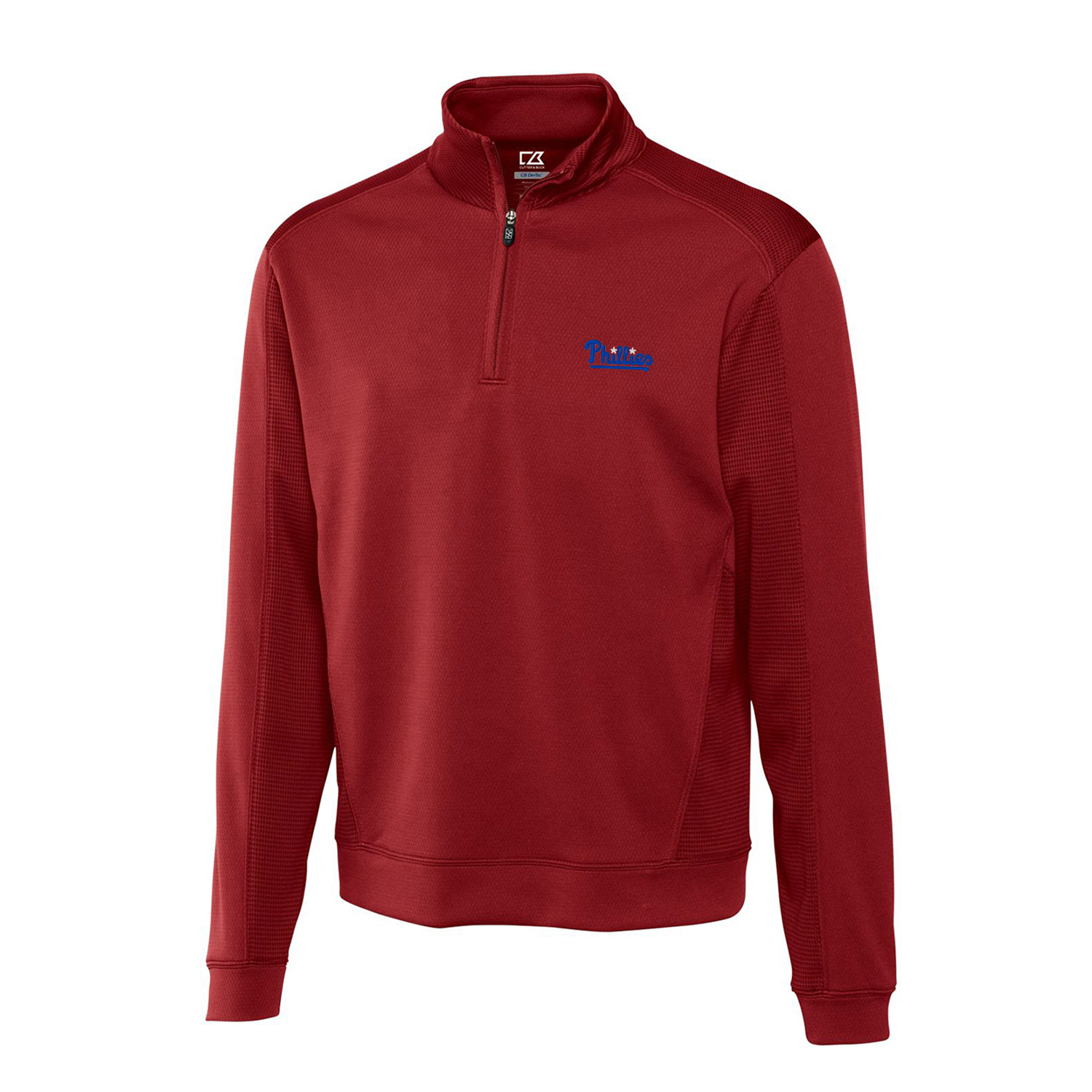 Philadelphia Phillies Cutter & Buck Half-Zip DryTec Edge Pullover Jacket - Cardinal