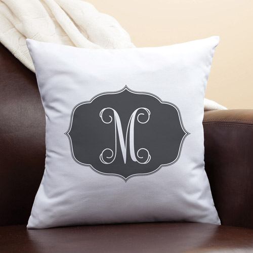 Personalized My Black Initial Pillow