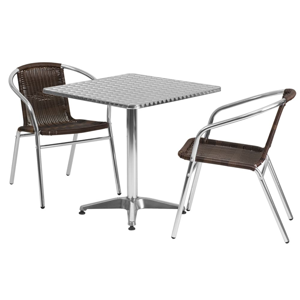 Offex  27.5-inch Square Aluminum Stackable Indoor-outdoor Table with 2 Rattan Chairs