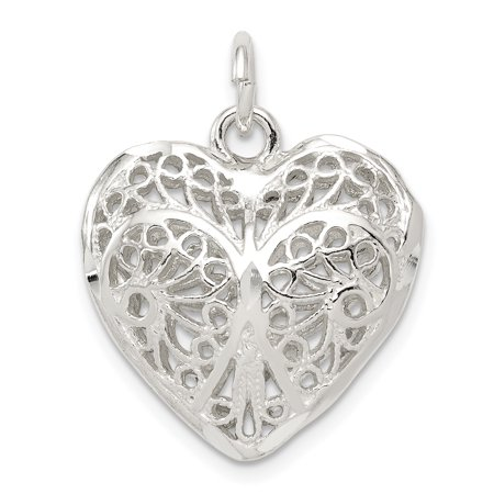 - Sterling Silver Puffy Filigree Heart 3D Pendant Charm