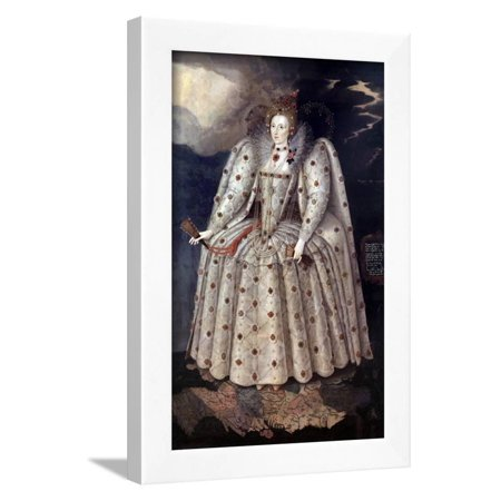 Portrait Of The Queen Elizabeth Ier By Marcus Gheeraerts Framed Print Wall Art