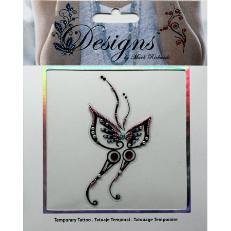 Pink & Black Butterfly Jeweled Temporary Tattoo - Mark Richards (Butterfly Tatoo)