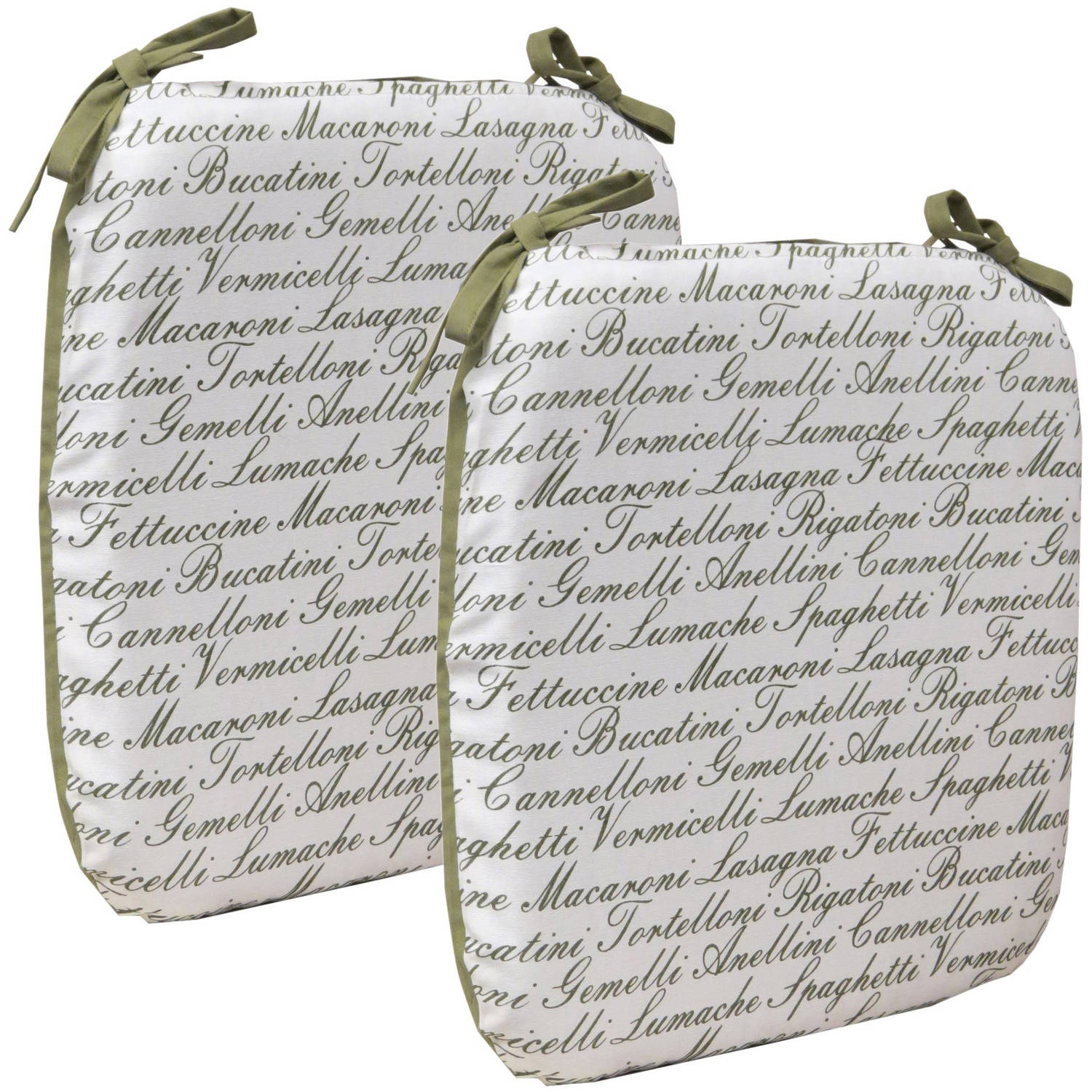 Gripper Your Decor Mangia Pasta Words Chair Cushions with String Ties, Set of 2