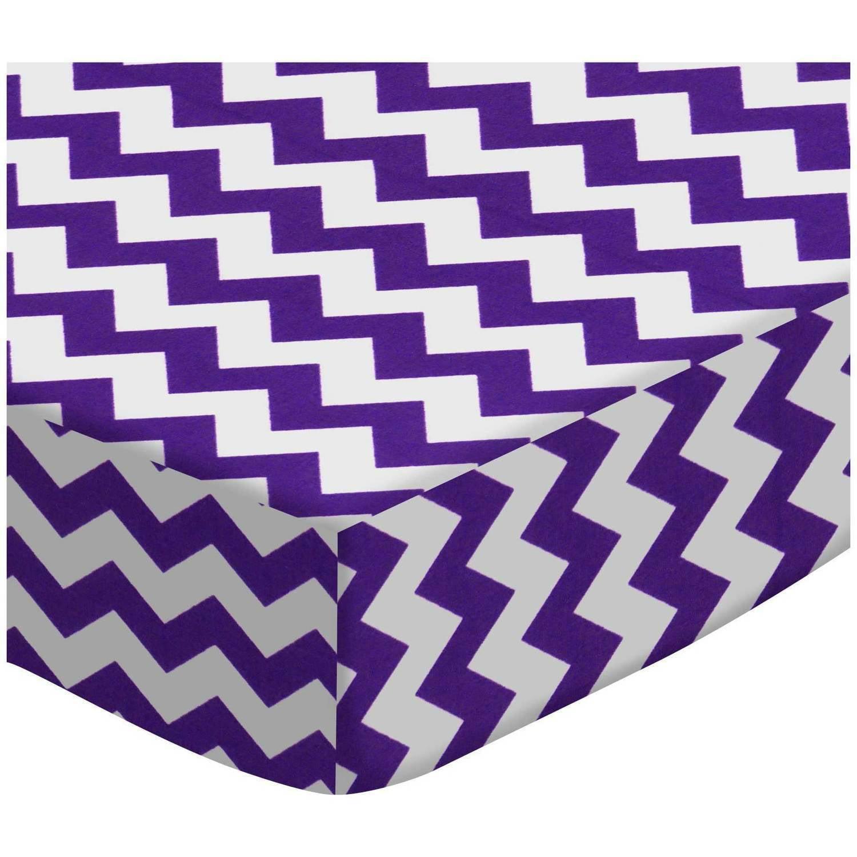 SheetWorld Fitted Oval Crib Sheet (Stokke Sleepi) -  Purple Chevron Zigzag