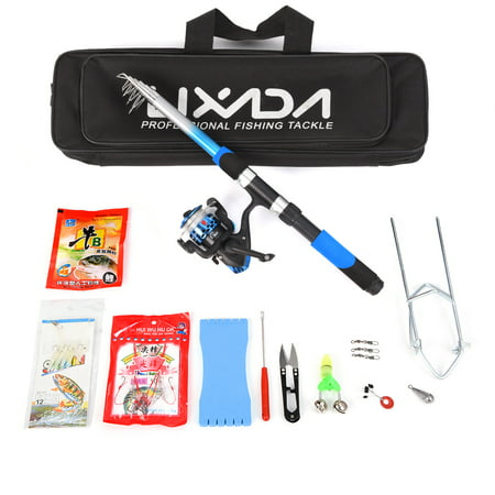 Spinning Sea Fishing - Lixada Fishing Tackle Set with 2.1m Telescopic Fiberglass Fishing Sea Rod Spinning Fishing Reel Fishing Baits Hooks Fishing Bag Kit Seawater Freshwater Suits Professional Travel Fishing Pole Rod Set