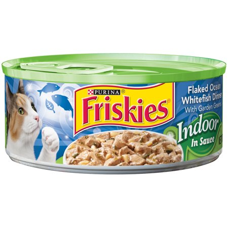 Dark Cat ((24 Pack) Friskies Flaked Ocean Whitefish Dinner with Garden Greens in Sauce Cat Food, 5.5 oz. Cans )