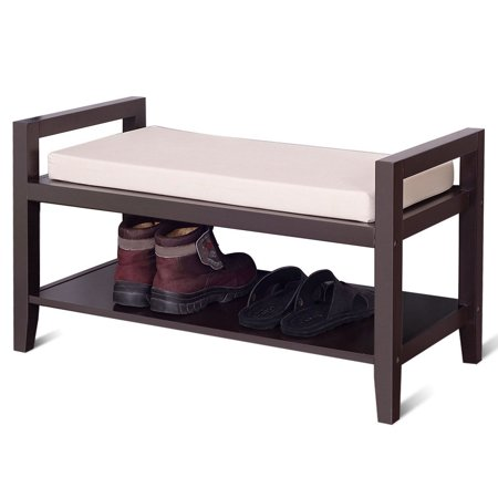 Gymax Wood Shoe Bench Storage Rack Cushion Seat Ottoman Bedroom Hallway Entryway - image 8 of 10