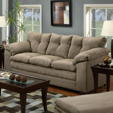 Beige Microfiber Sofa - Simmons Luna Mineral Microfiber Sofa
