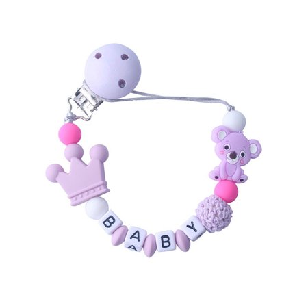 Pacifier Holder Pink Ribbon (Newborn Baby Silicone Pacifier Clip Safety Teether Chain Toy)
