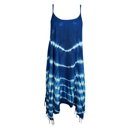 Mogul Women Sexy Tank Dress Tie-Dye Spaghetti Strap Tassel Hem Bohemian Fashion Gypsy Hippie Chic Summer Style Flare Sundress S/M - 1960 Hippie Fashion