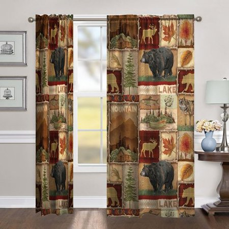 Millwood Pines Flemings Lodge Collage Window Room Darkening Rod Pocket Single Curtain Panel