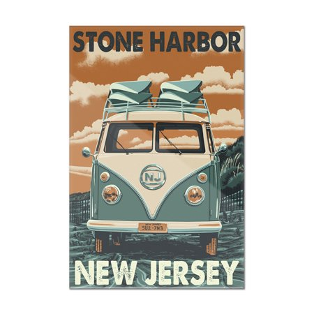 Stone Harbor, New Jersey - VW Van - Letterpress - Lantern Press Artwork (8x12 Acrylic Wall Art Gallery Quality)