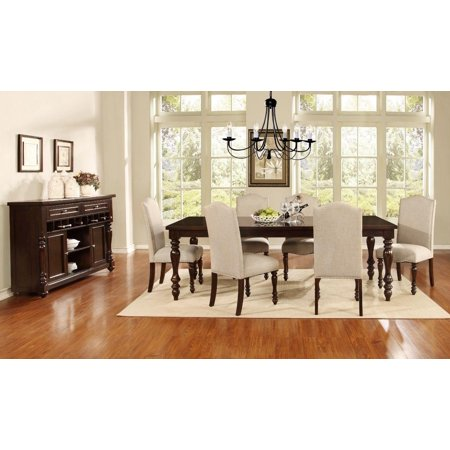 Mcferran D1888 Traditional Style Solid Wood Linen Seat Dining Room Set 7 Pcs
