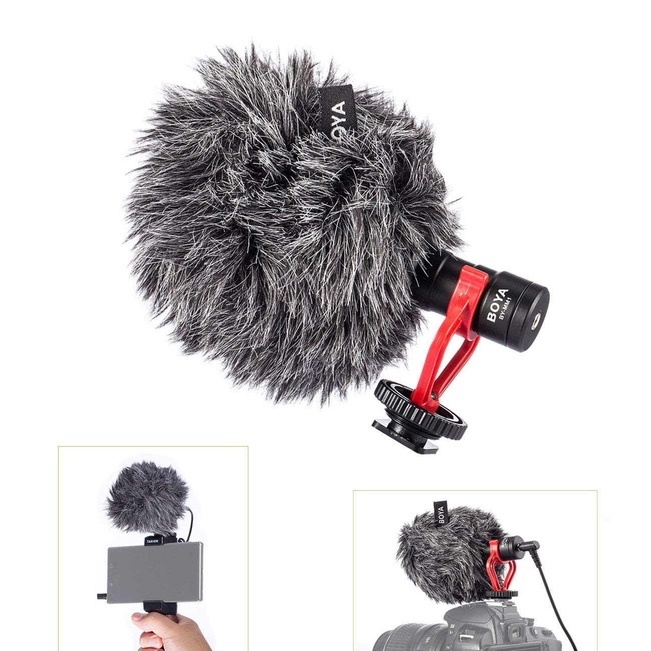 BOYA BY MM1 Universal On Camera Cardiod Microphone Mic Shotgun for iPhone 7 Samsung S7 Smartphone DSLR Camera