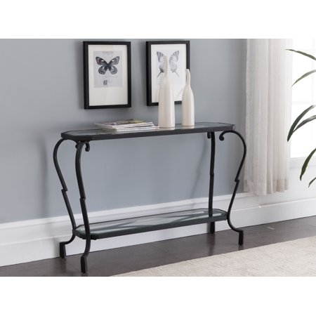 Jordan Textured Black & Brushed Copper Metal With Transparent Tempered Glass Modern 2 Storage Shelf Occasional Entryway Console Sofa
