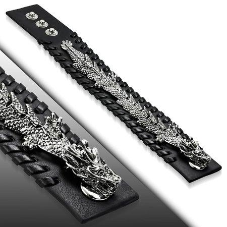 Genuine Black Leather Spiral Dragon Chinese Zodiac Sign Snap Biker - Spiral Keychain Bracelet