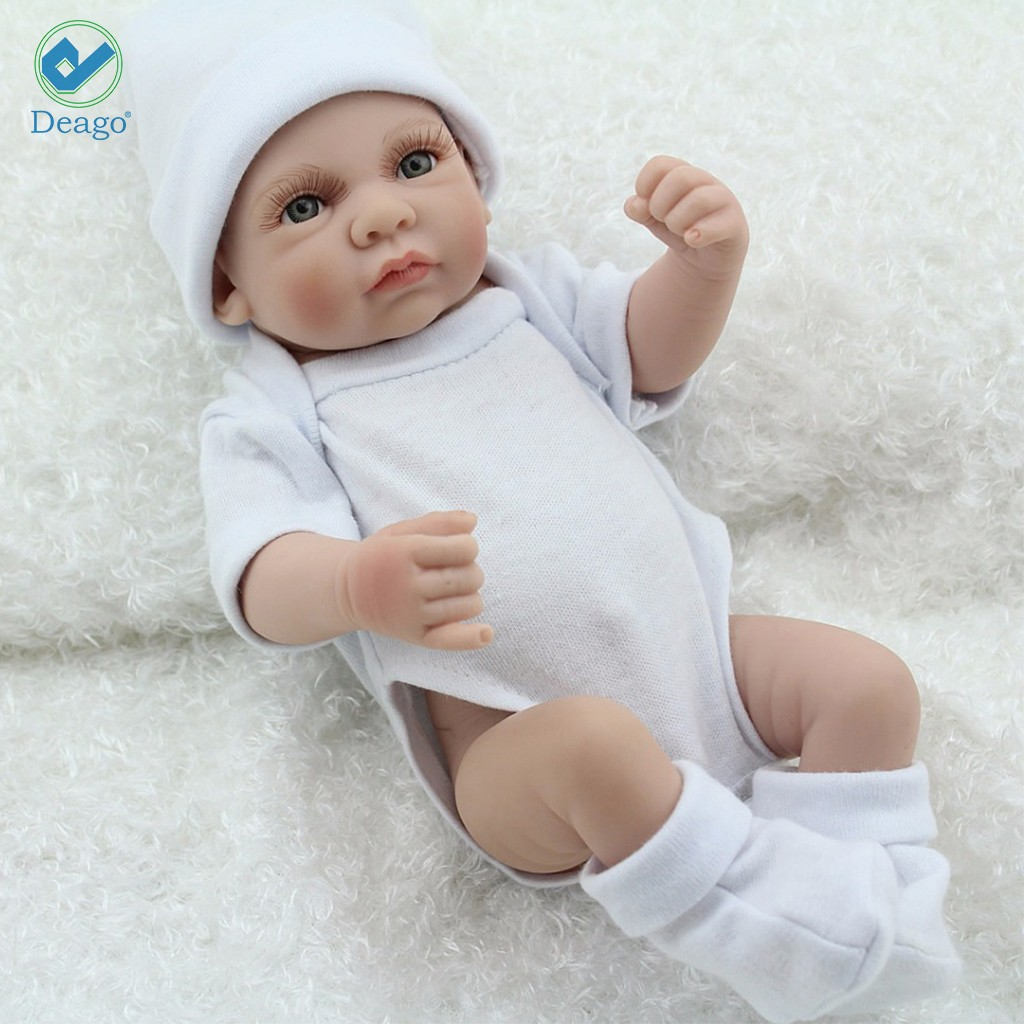 "Deago 11"" Reborn Newborn Baby Realike Doll Handmade Lifelike Silicone Vinyl Weighted Alive Lovely Cute Doll Gifts"