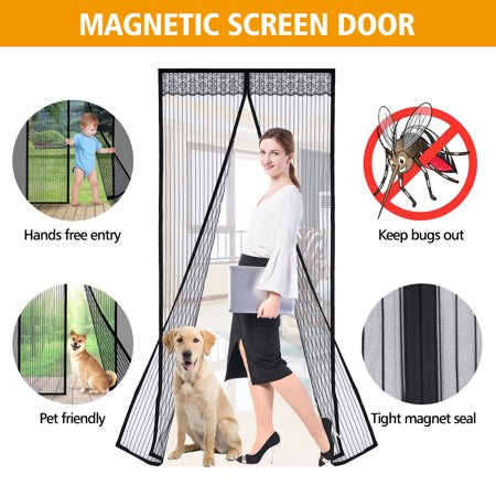 36''x 83'' Full Frame Magic Stick Curtain Mute Stripes Encryption Mosquito Magnetic Screen Door, Self-Seal Open And Close Automatically Design