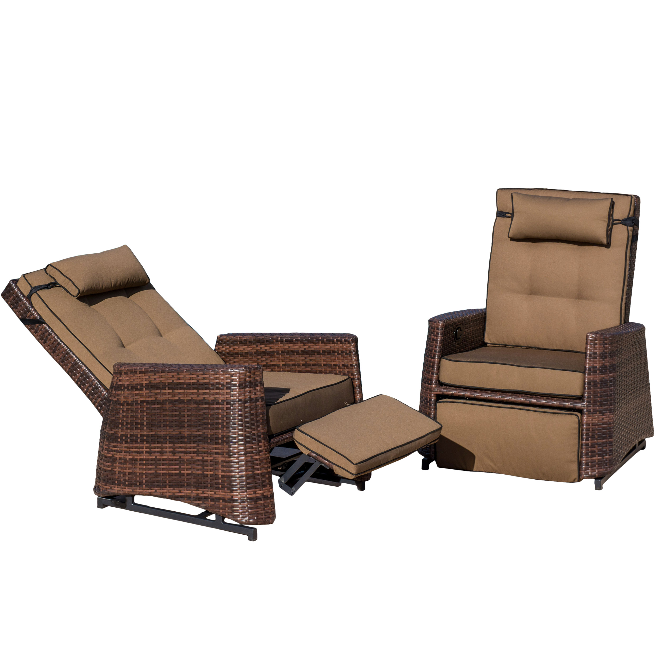 Outdoor Brown Wicker Recliners (Set of 2) by GDF Studio