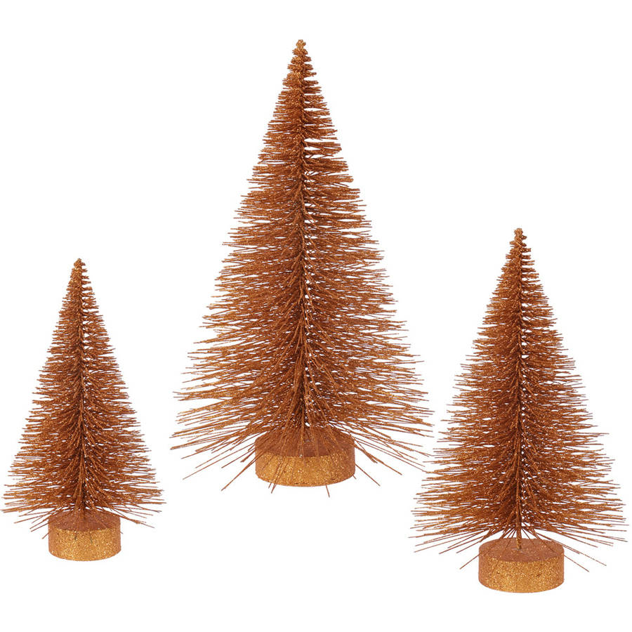 """Vickerman 16""""-20""""-24"""" Set of Three Copper Glitter Fat Cone Artificial Trees, for Indoor Use Only"""