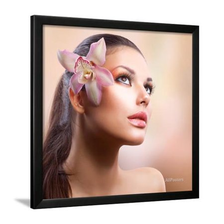 - Beauty Portrait. Beautiful Stylish Girl with Orchid Flower. Pastel Colours. Perfect Face Skin Framed Print Wall Art By Subbotina Anna