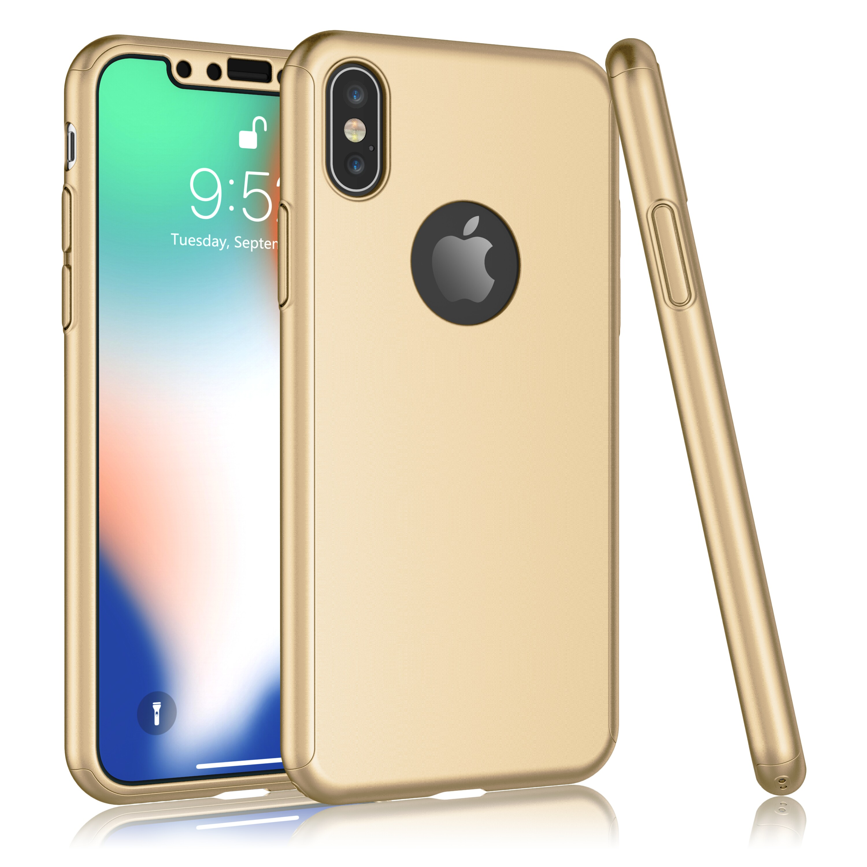 "2017 iPhone X Case, 2018 iPhone XS Case, Tekcoo [T360] Ultra Thin Full Body Protection Hard Slim Hybrid Cover Shell With Tempered Glass Screen Protector For 5.8"" iPhone X / XS -Gold"
