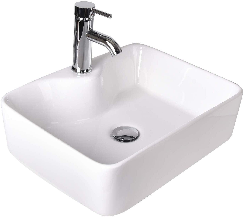 Elecwish Rectangular Ceramic Vessel, Over Counter Bathroom Sink