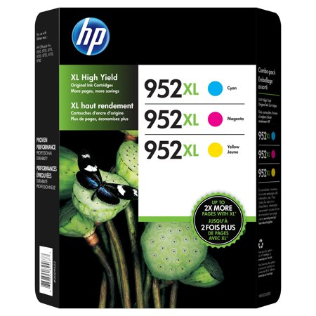 HP 952XL High-Yield Ink Cartridge 3-pk Assorted Colors- Cyan Magenta