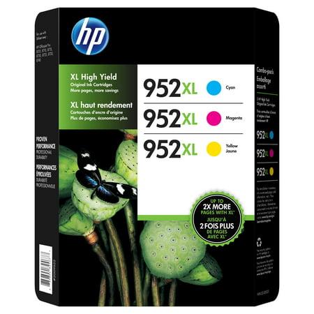 HP 952XL High-Yield Ink Cartridge 3-pk Assorted Colors- Cyan Magenta Yellow 1 Pack Magenta Toner