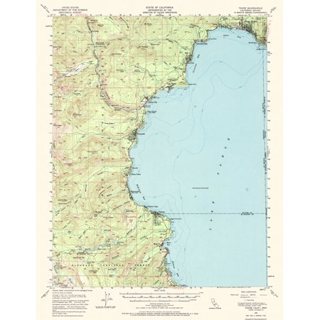Topographical Map Print - Tahoe California, Nevada Quad - USGS 1955 - 17 x  22