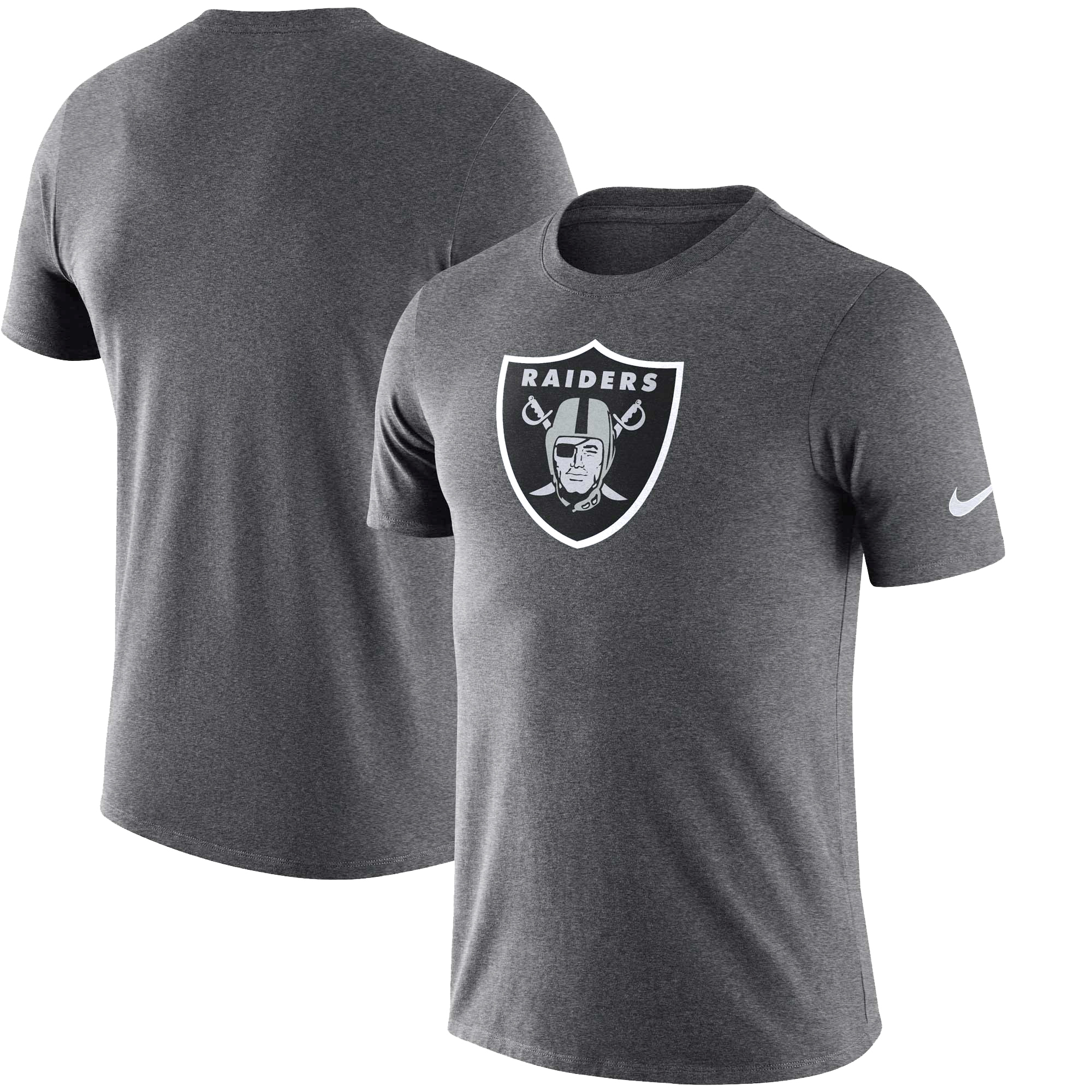 Oakland Raiders Nike Essential Logo Dri-FIT Cotton T-Shirt - Heather Charcoal