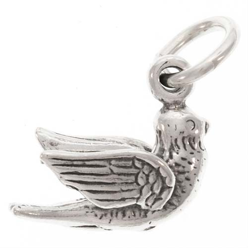 Sterling Silver Charm, Flying Peace Dove 14mm, 1 Piece, Silver
