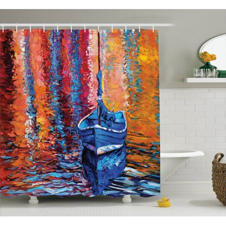 Country Decor Pastel Color Paint Of Fishing Sail Boat In The Sea Dark Fairy Image Dramatic Art Work, Bathroom Accessories, 69W X 84L Inches Extra Long, By