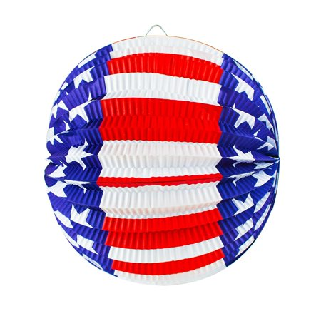 Patriotic Lantern (Round Patriotic Folding Hanging Paper Lanterns (6 Pack) by Super Z Outlet)