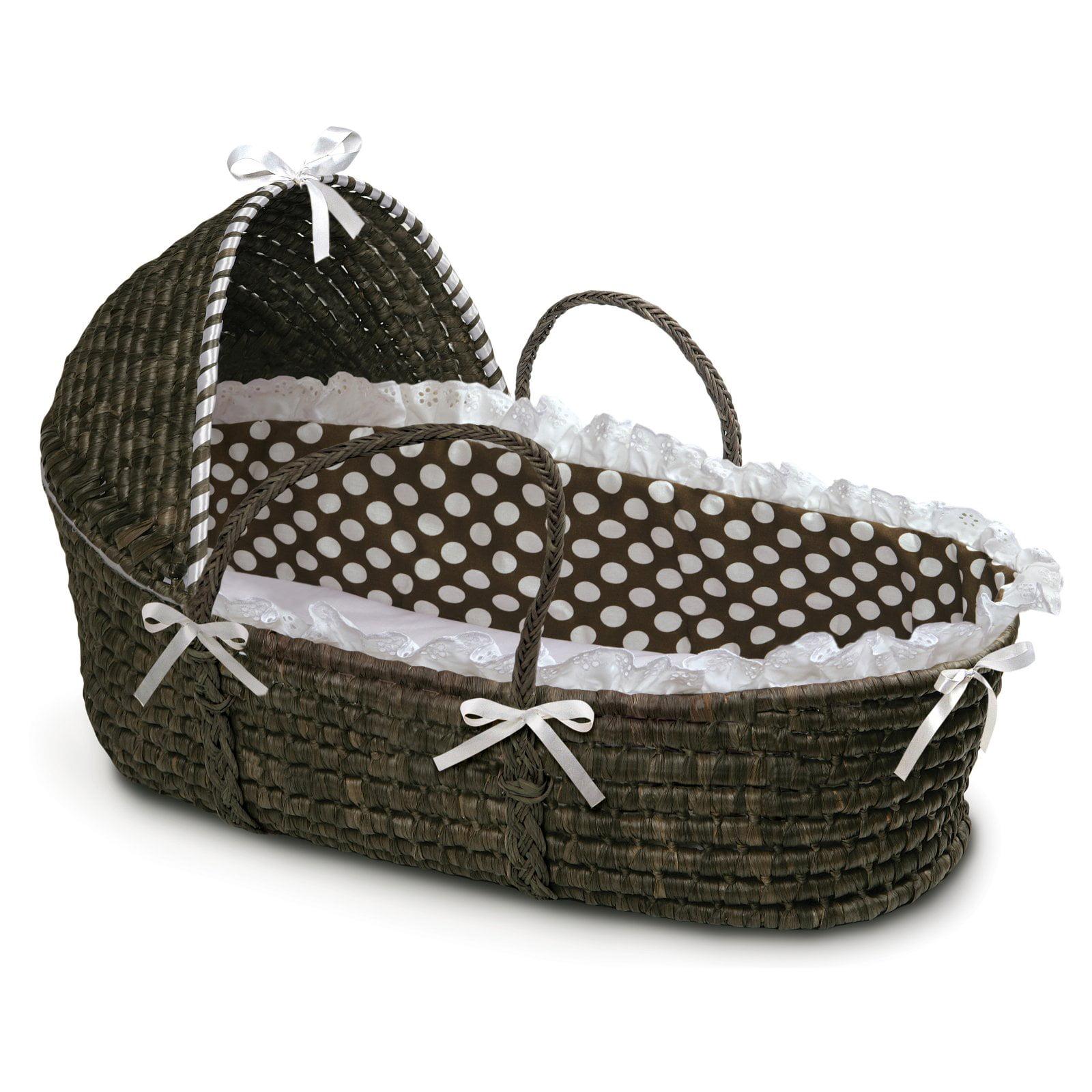 Badger Basket - Espresso Moses Basket with Hood and Brown Polka Dot Bedding