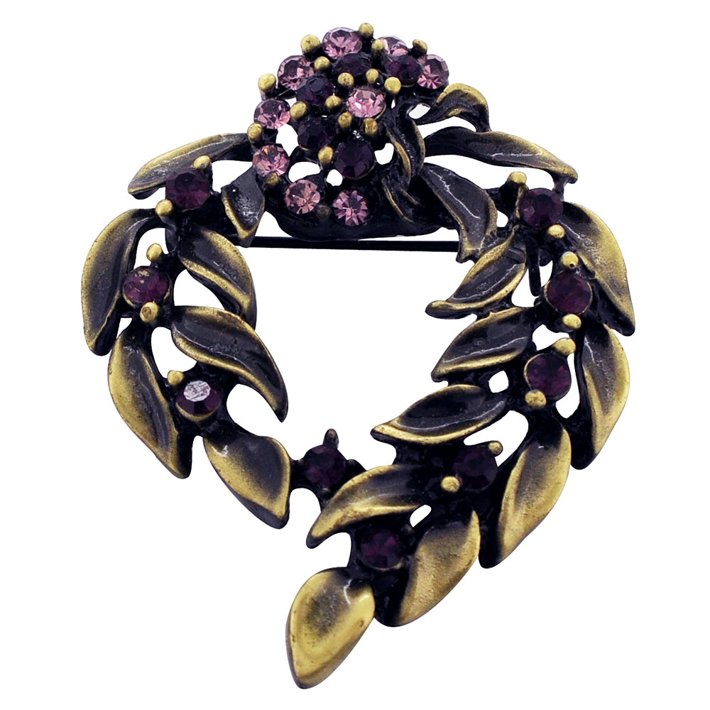 Amethyst Vintage Style Flower Wreath Brooch Pin by