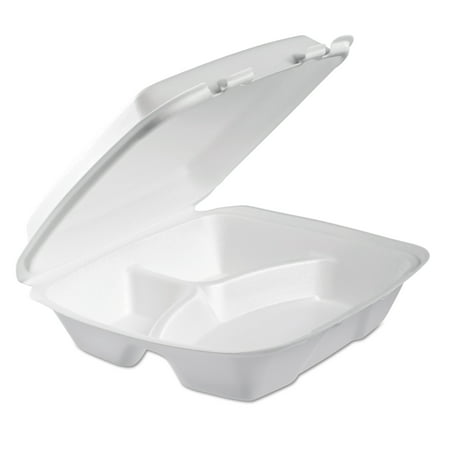 Dart Foam White 3-Comp Hinged Lid Containers, 100 count, (Pack of 2)