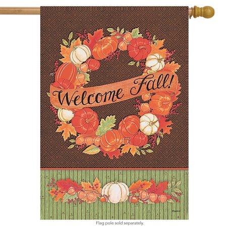 Fall Wreath Welcome House Flag Autumn Pumpkins Gourds 28