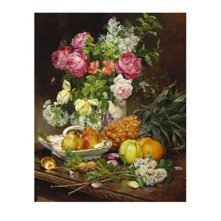 Roses in a Vase, Pears in a Porcelain Bowl and Fruit on an Oak Table Print Wall Art By Louis Marie De Schryver