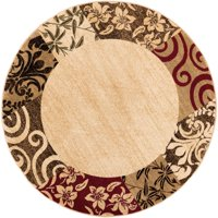 "Well Woven Barclay Vane Willow Damask Modern Border Beige 5'3"" Round Area Rug"