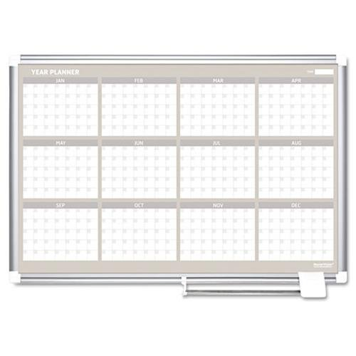 "Mastervision 36"" 12-month Calendar Planning Board - Monthly, Yearly - 1 Year - Wall Mountable - Aluminum - White (ga03106830)"