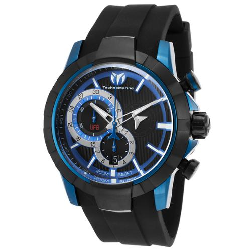 Technomarine Tm-614001 Men's Uf6 Chronograph Black Silicone And Dial Blue Case Watch