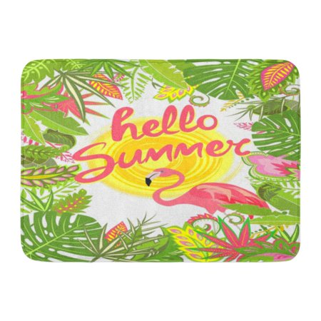 GODPOK Banana Green Africa with Tropical Leaves Sun Flamingo and Hello Summer Lettering Summery Pink Bali Rug Doormat Bath Mat 23.6x15.7 inch