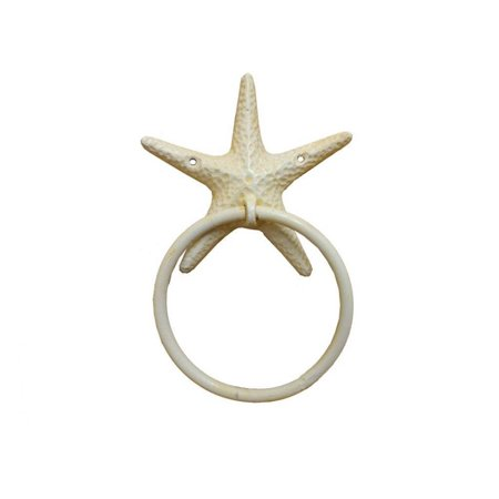"Antique White Cast Iron Starfish Towel Holder 8.5"" - Decorative Starfish - Beach Decor"