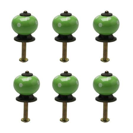 Ceramic Vintage Knob Pull Handle Dresser Cupboard Cabinet Accessories 6pcs Green - image 7 of 7