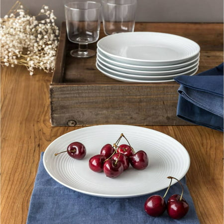 Better Homes & Gardens Round Ribbed Salad Plates, White, Set of 6 Salad Plate Set