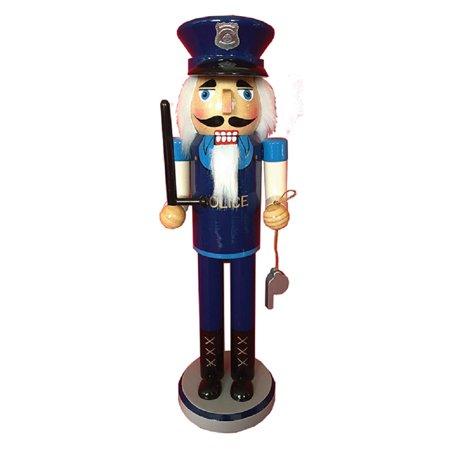 Policeman with Baton and Whistle Wooden Christmas Nutcracker Police 14 Inch New