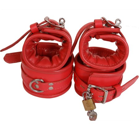 Padded Pink Genuine / Real Leather Wrist Ankle Cuffs 4 Pieces Set Restraints (Real Handcuffs)