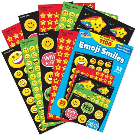 Emoji Smiles Stickers Variety Pack Supershapes - 1100 Count