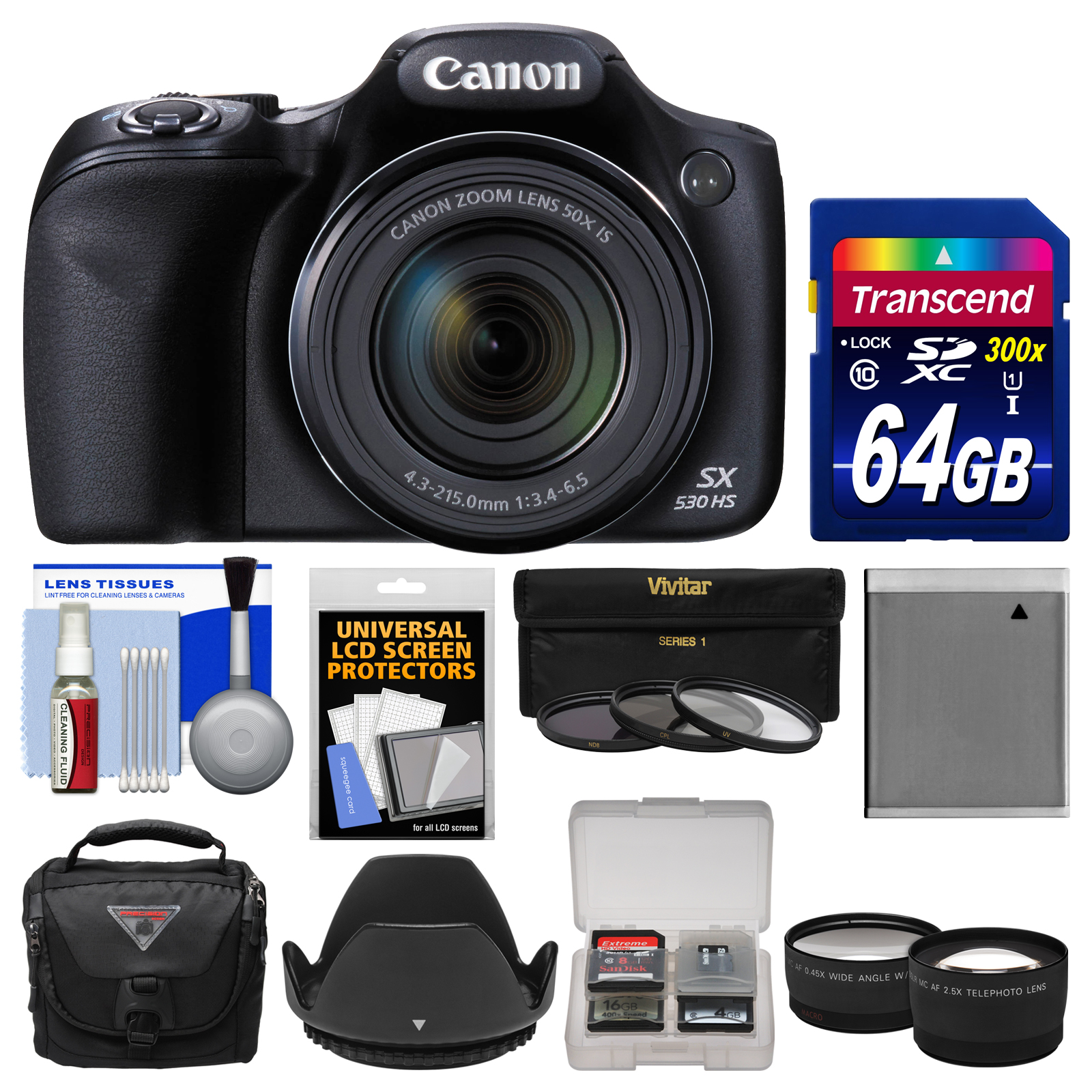 Canon PowerShot SX530 HS Wi-Fi Digital Camera with 64GB Card + Case + Battery + 3 Filters + Tele/Wide Lens Kit